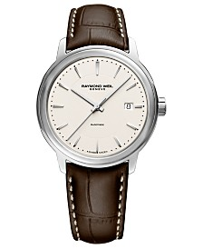 RAYMOND WEIL Men's Swiss Automatic Maestro Brown Leather Strap Watch 40mm