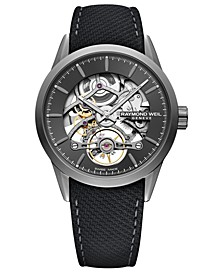 Men's Swiss Automatic Freelancer Black Leather Strap Watch 42mm