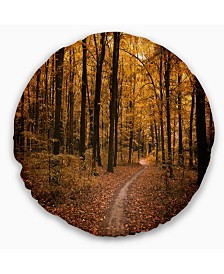 "Designart Path In The Yellow Fall Forest Modern Forest Throw Pillow - 20"" Round"
