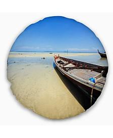 "Designart Traditional Thai Boat On Beach Seashore Throw Pillow - 20"" Round"