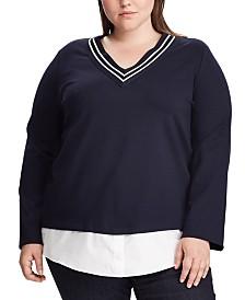 Lauren Ralph Lauren Plus Size Stripe-Trim Layered Cricket Top