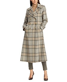 Plaid Double-Breasted Maxi Coat
