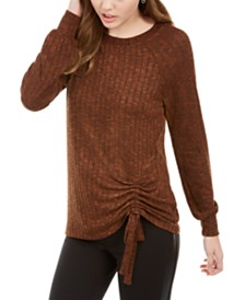 BCX Juniors' Ruched Side-Tie Rib-Knit Top