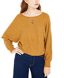 Juniors' Fuzzy Necklace Top