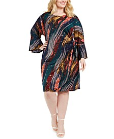 Plus Size Printed Tie-Side Dress