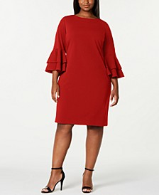 Plus Size Tiered-Bell-Sleeve Dress