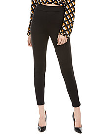 Love, Fire Juniors' Pull-On Faux-Leather-Stripe Skinny Pants