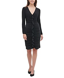 Jersey Ruffle-Front Dress