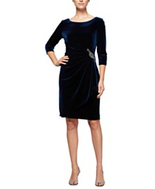 Alex Evenings Ruched-Side Velvet Dress