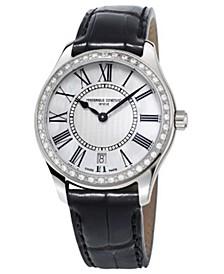 Women's Swiss Quartz Diamond (5/8 ct. t.w.) Black Leather Strap Watch 36mm