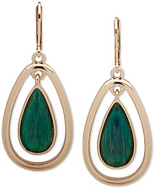 Anne Klein Gold-Tone Stone Green Orbital Drop Earrings