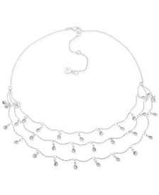 "Anne Klein Silver-Tone Crystal Shaky Layered Necklace, 16"" + 3"" extender"