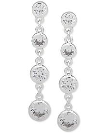 Anne Klein Silver-Tone Crystal Linear Drop Earrings