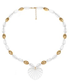 14K Gold-Plated Long Shell Pendant Necklace