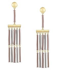 Gold-Tone Colored Fringe Tassel Earrings
