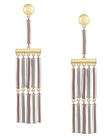Trifari Gold-Tone Colored Fringe Tassel Earrings