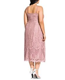 City Chic Trendy Plus Size Lace Midi Dress