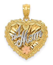#1 Mom Shadowbox Pendant in 14k Yellow, White and Rose Gold