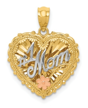 1 Mom Shadowbox Pendant in 14k Yellow, White and Rose Gold