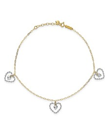 Heart Anklet in 14k Yellow and White Gold