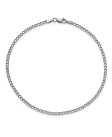 Curb Link Chain Anklet in 14k White Gold