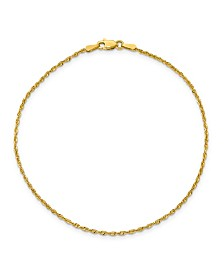 Rope Chain Anklet in 14k Yellow Gold