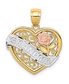 Grandma Heart Pendant in 14k Yellow Rose Gold and Rhodium