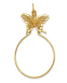 Butterfly Holder Charm in 14k Yellow Gold