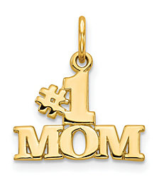 Number 1 Mom Charm in 14k Yellow Gold