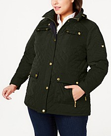 Plus Size Hooded Quilted Jacket, Created for Macy's