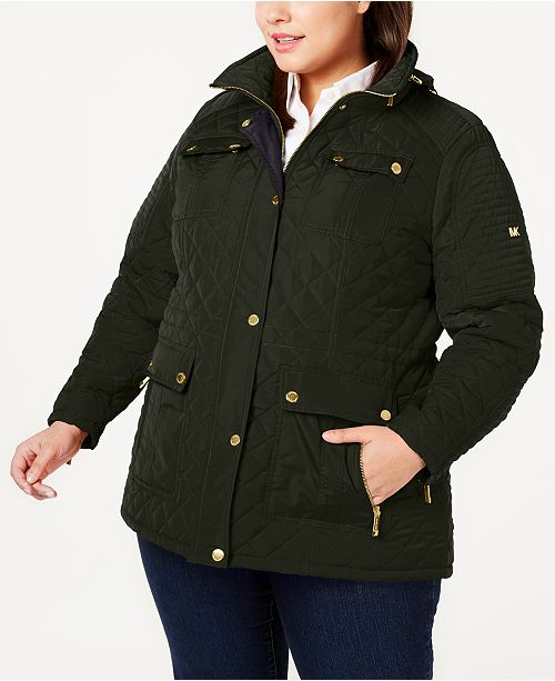 Michael Kors Plus Size Hooded Quilted Jacket, Created for Macy's