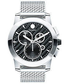 Movado Men's Swiss Chronograph Vizio Stainless Steel Mesh Bracelet Watch 45mm