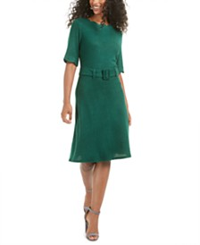 Monteau Petite Scalloped Belted Dress