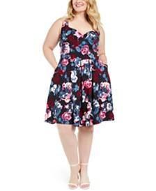 Trixxi Trendy Plus Size Floral-Print Fit & Flare Dress