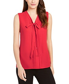 V-Neck Pleated Bow Blouse