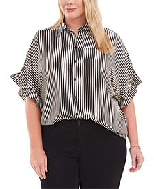 Plus Size Striped Ruffled-Cuff Blouse