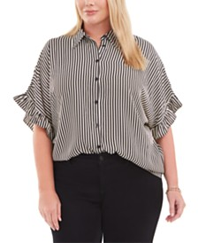 Michael Michael Kors Plus Size Striped Ruffled-Cuff Blouse