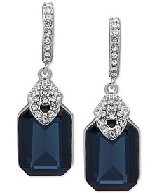 Lauren Ralph Lauren Pavé & Stone Drop Huggie Hoop Earrings