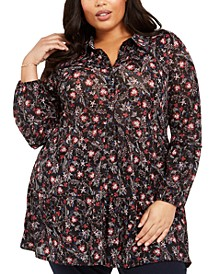 Plus Size Floral Ruffle Blouse, Created For Macy's