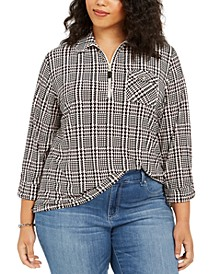 Plus Size Plaid Zip-Neck Top