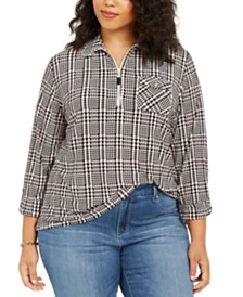 Tommy Hilfiger Plus Size Plaid Zip-Neck Top
