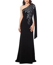 Embellished One-Shoulder Gown