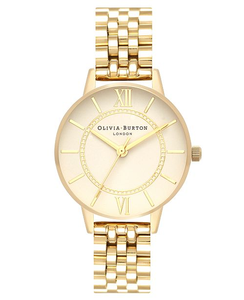 Olivia Burton Women's Wonderland Gold-Tone Stainless Steel Bracelet Watch 30mm