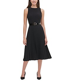 Petite Belted Jersey Pleated Dress