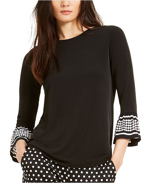 Michael Kors Mod Dot Flared-Sleeve Top, Regular & Petite Sizes