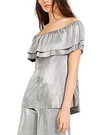 Metallic Off-The-Shoulder Top, Regular & Petite Sizes