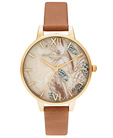 Women's Abstract Floral Tan Leather Strap Watch 34mm