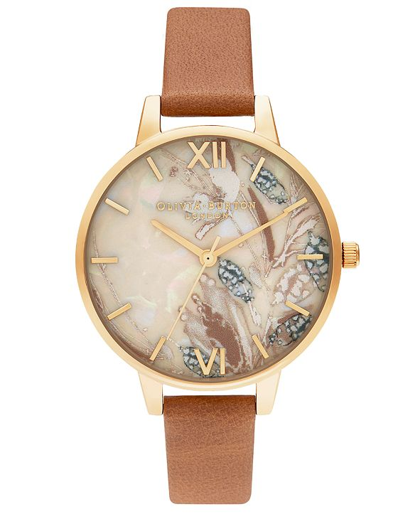 Olivia Burton Women's Abstract Floral Tan Leather Strap Watch 34mm