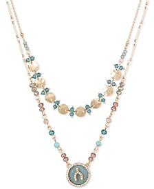 "Gold-Tone Pavé & Imitation Mother-of-Pearl Wishbone Beaded Double-Row 17"" Pendant Necklace"