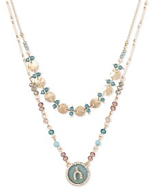 "lonna & lilly Gold-Tone Pavé & Imitation Mother-of-Pearl Wishbone Beaded Double-Row 17"" Pendant Necklace"